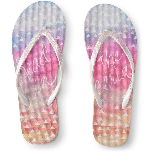 aedbbba4306e Aeropostale Head In The Clouds Flip-Flop ( 3.99) ❤ liked on Polyvore  featuring shoes