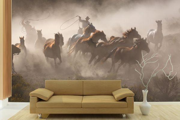 Cowboy Horses Wall Mural Www Pricklypearcasa Com Horse Mural Ranch House Decor Cowboy Artwork