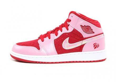 best website 73738 39f9c NIKE AIR JORDAN 1 MID PREMIUM GS ION PINK GYM RED-WHITE  sneaker