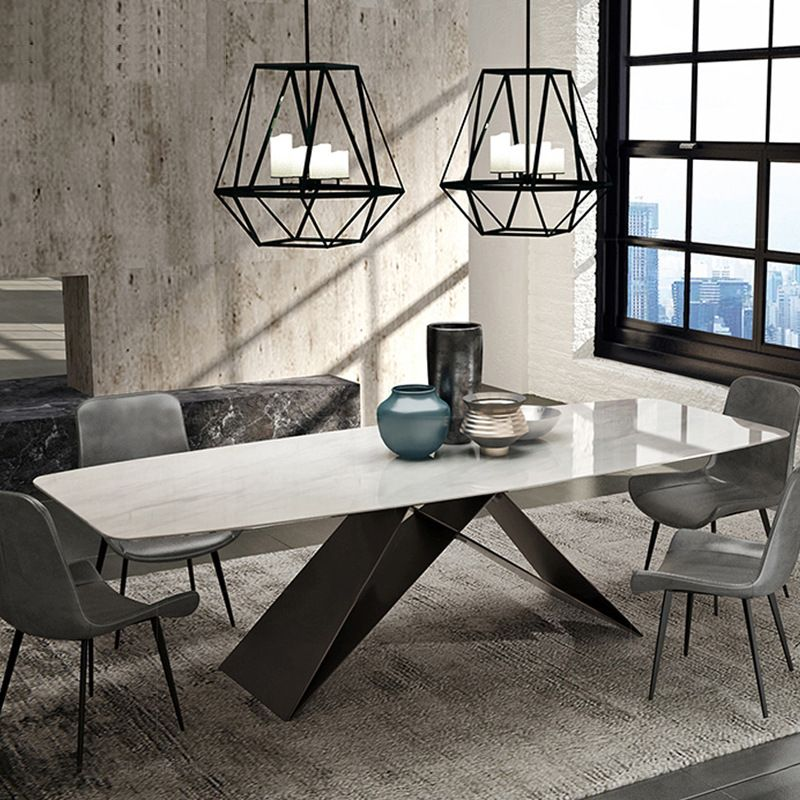 طاولة طعام من الرخام طاولة طعام إبداعيه بسيطه تكفي 6 8 شخص مستطيلة الشكل مصنوعه م Dining Table Marble Dining Room Furniture Styles Stainless Steel Dining Table