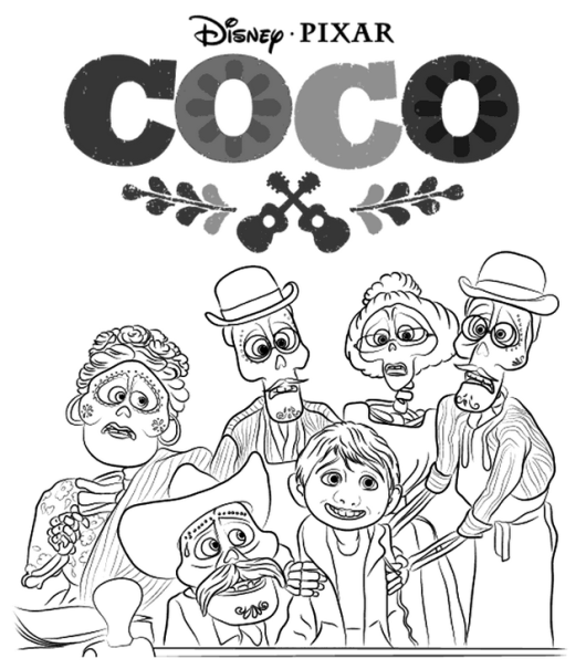 Coco Characters Disney Coloring Page Disney Coloring Pages Coloring Pages Cartoon Coloring Pages