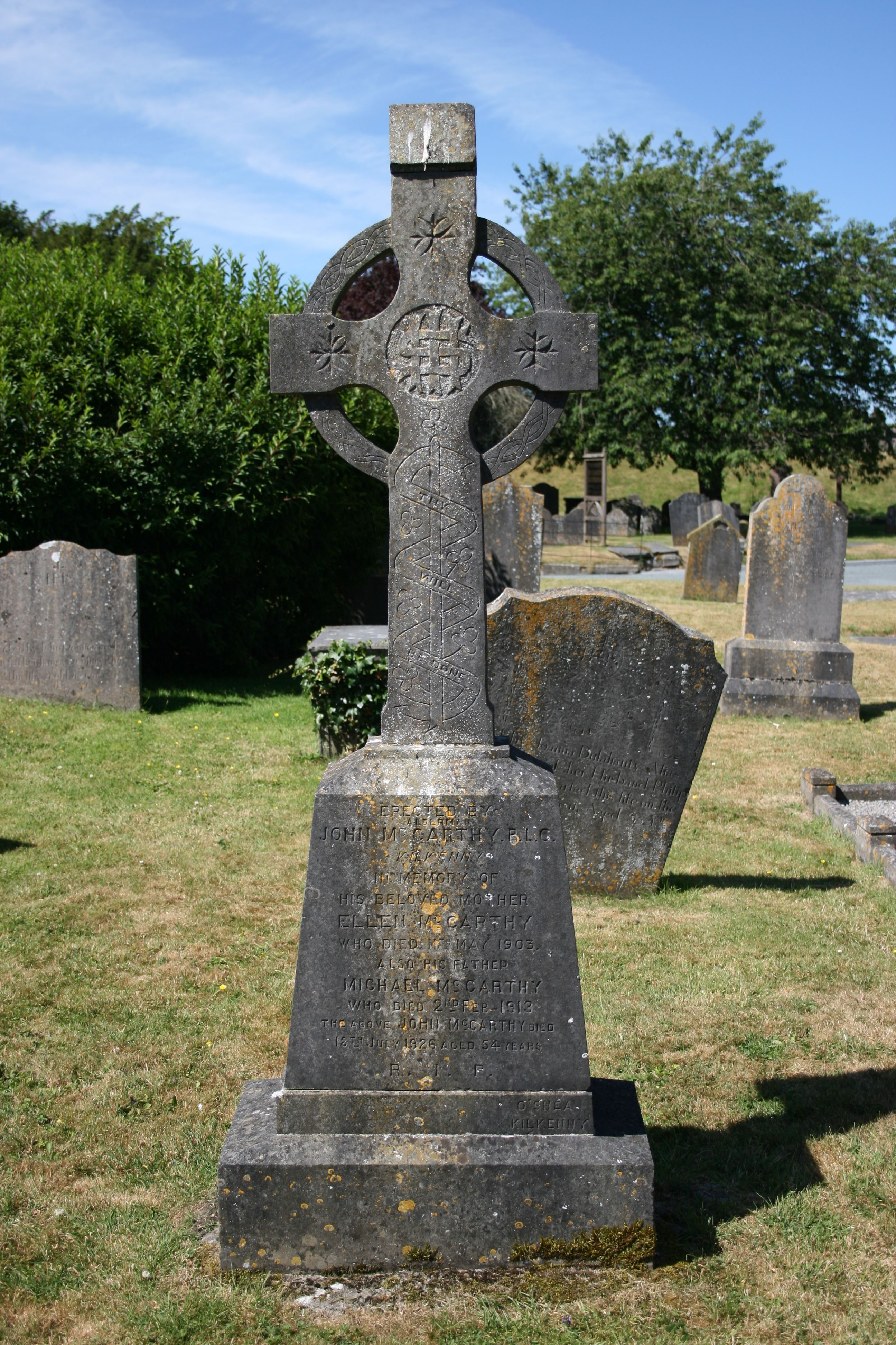 Celtic cross beside Saint Canice's cathedral