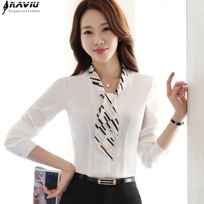 f7bd41f6ed71 Women Shirt White Fashion Formal Slim Chiffon Blouse Office Ladies Work Wear   NAVIUElegantandFashion  Formal
