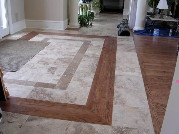 Nice Transition From Tile To Hardwood Entryway Tile Foyer Flooring Entryway Flooring