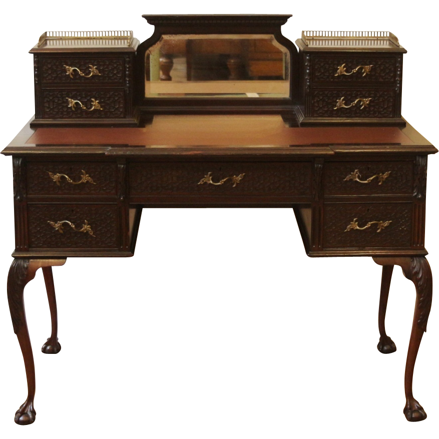 Antique Chippendale Desk Ladies Writing Table English Carved