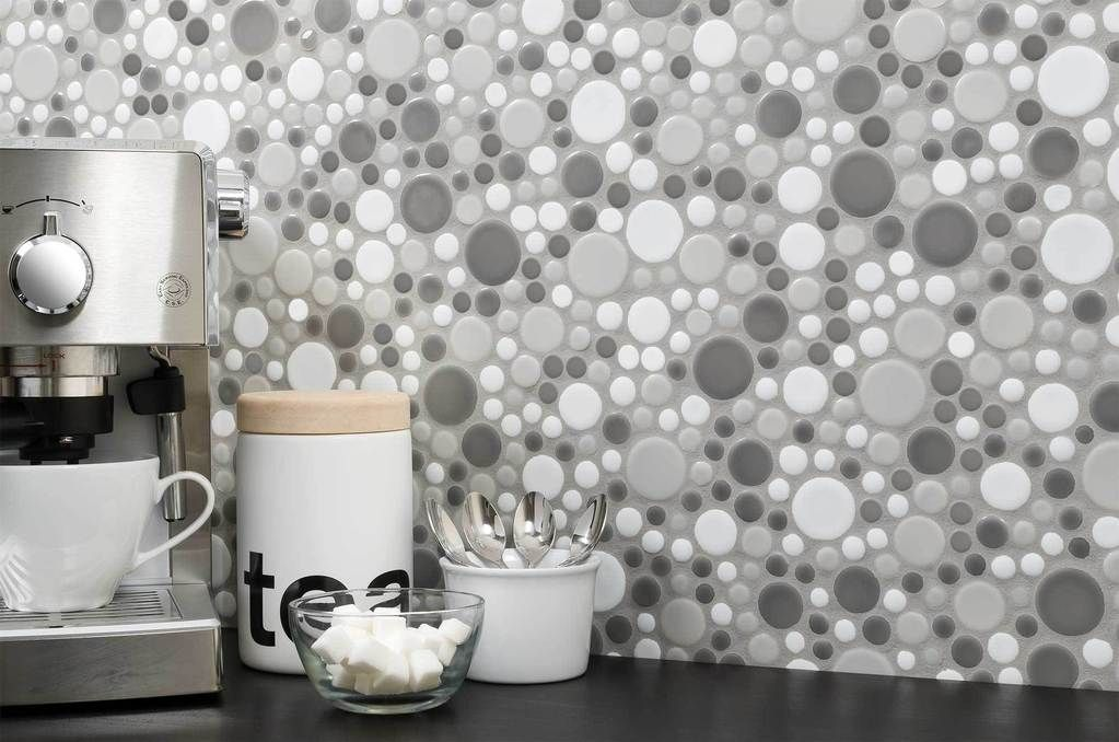 beautiful kitchen backsplash circular porcelain mosaic tile rh pinterest com