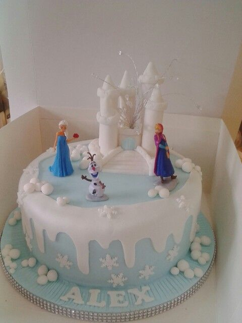 Frozen Cake Decoration Images : Single tier frozen cake with castle decoration Frozen ...