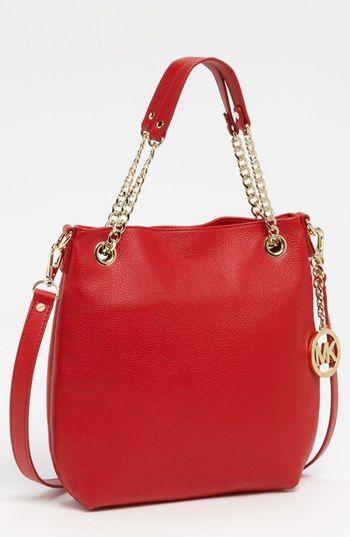 5084c47c5613 $198, Red Leather Tote Bag: MICHAEL Michael Kors Michl Michl Kors Jet Set  Medium