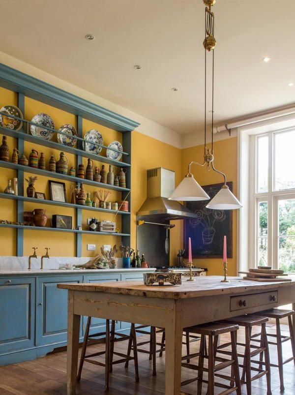 vintage english country kitchen in bold colors digsdigs home rh pinterest com
