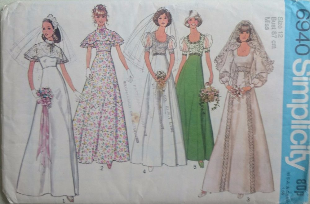 Vintage 1970s Sewing Pattern Simplicity 6940 Bridal Gown