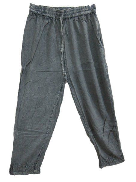 Amazon.com: Mogul Interior Palazzo Pant Stonwashed Grey Boho Trouser Gaucho for Womens: Clothing