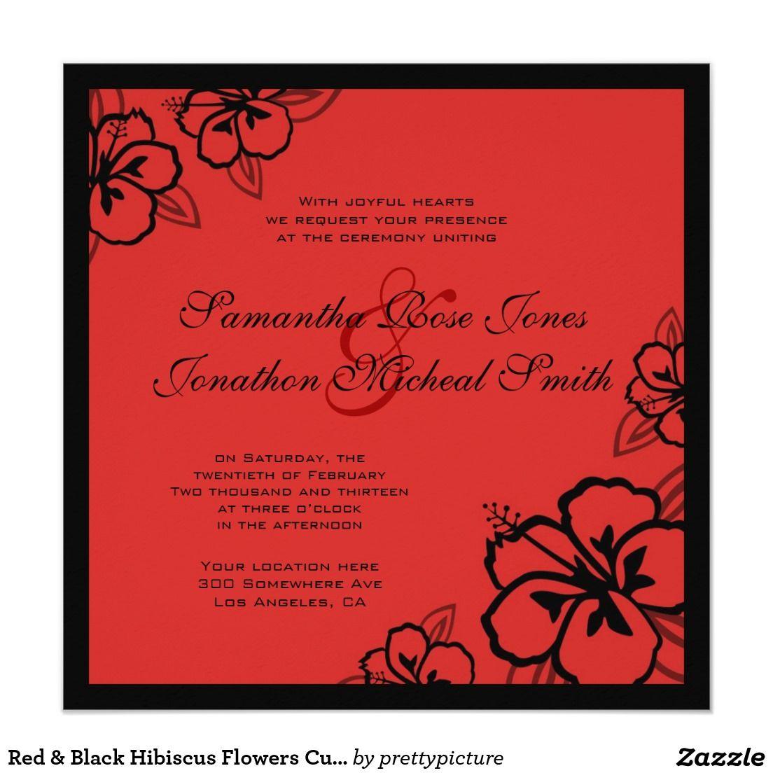 Red & Black Hibiscus Flowers Custom Wedding Card | Hibiscus flowers ...