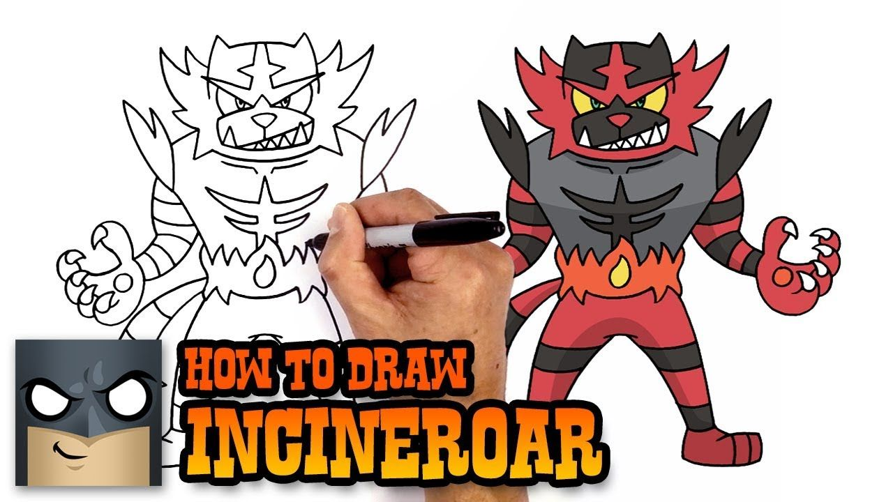 How To Draw Incineroar Pokemon Art Tutorial Pokemon Drawings