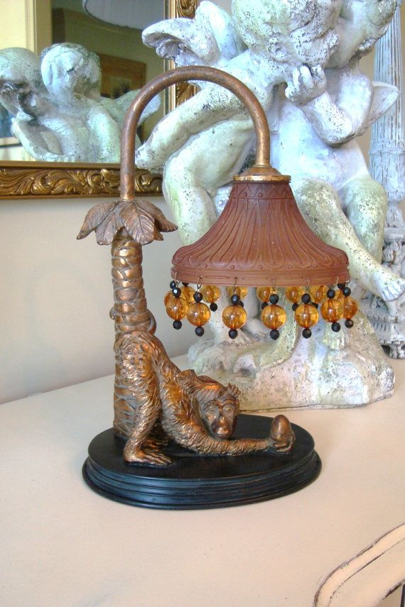 Vintage Monkey Lamp Night Light Glass Beaded By