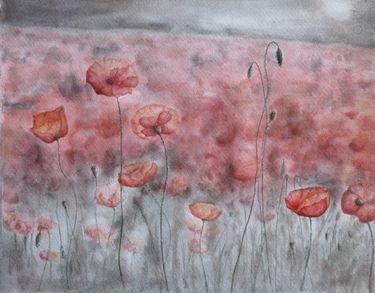 """Saatchi Online Artist Graham Edden; Painting, """"Poppies grey day"""" #art"""