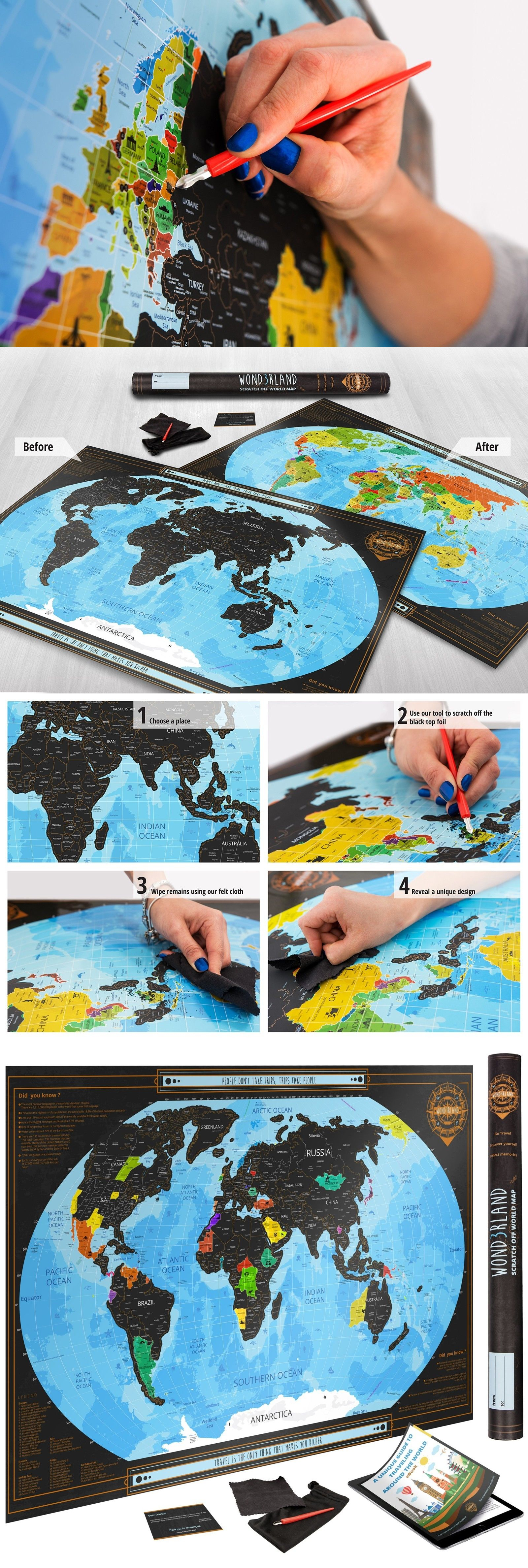 Other travel maps 164807 scratch off world map deluxe 32 x23 wall other travel maps 164807 scratch off world map deluxe 32 x23 wall poster with usa gumiabroncs Image collections