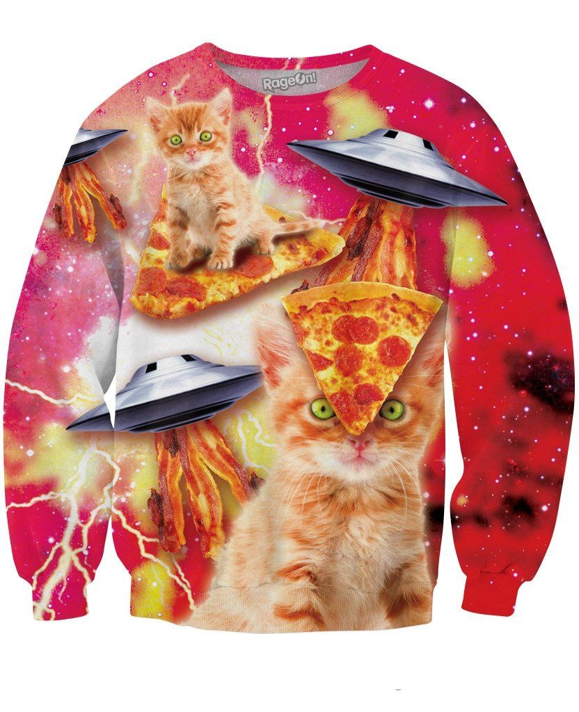 Bacon Pizza Space Cat Sweatshirt Space Cat Cat Sweatshirt Sweatshirts [ 1024 x 832 Pixel ]