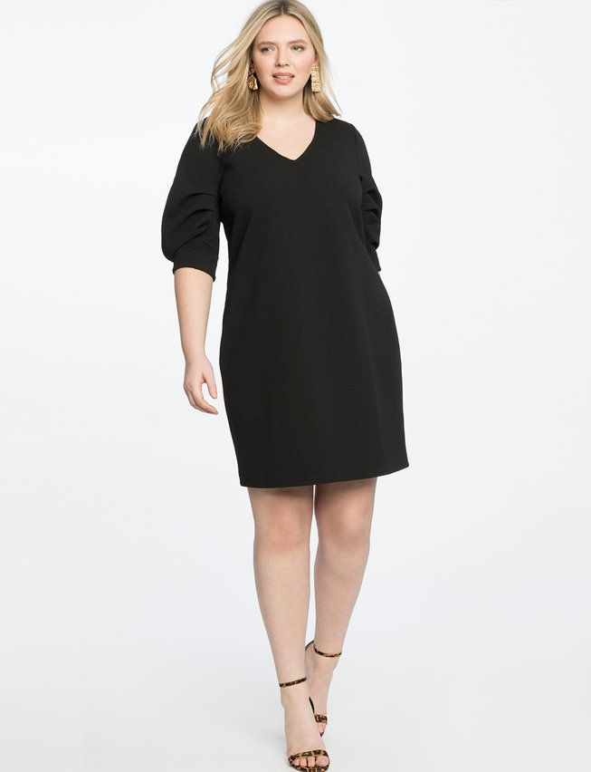Pleated Sleeve Easy Dress | Womens Plus Size Dresses
