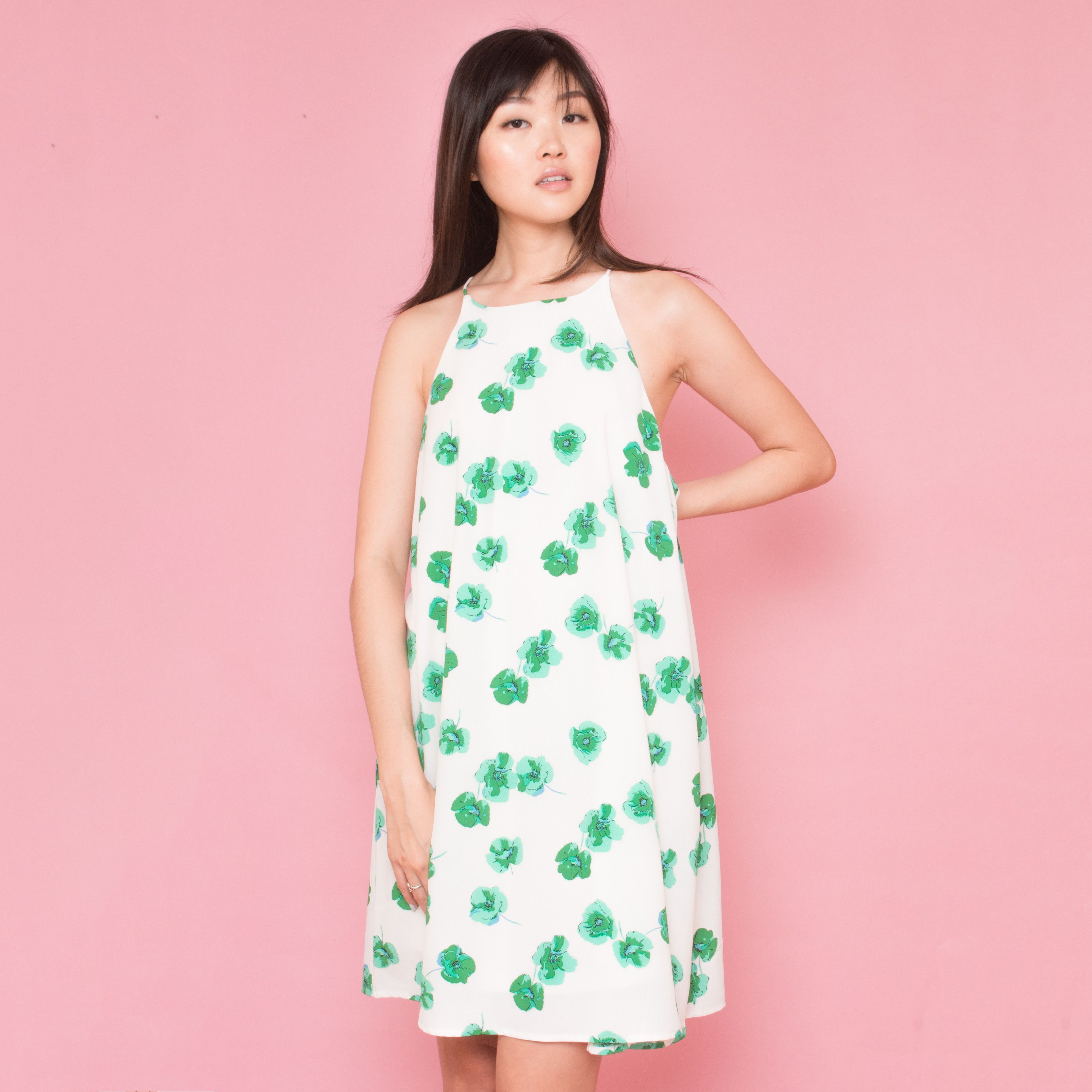 White Halter Dress with Green Flowers | Products | Pinterest