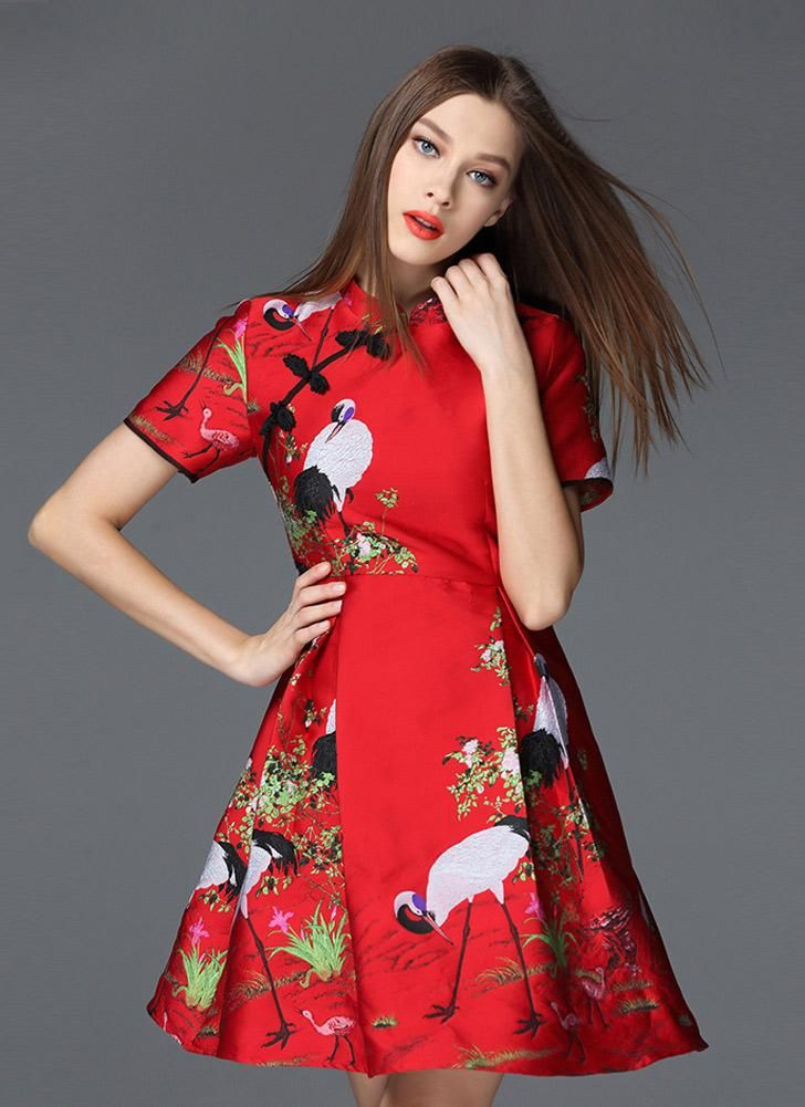 58cffdbebd99 Qipao Jacquard Crane Mandarin Collar Frog Button Mini Red Dress Red