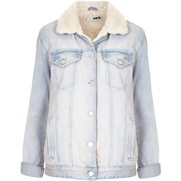 22c2b69c0713f TOPSHOP MOTO Bleach Borg Denim Jacket (£88) ❤ liked on Polyvore featuring  outerwear