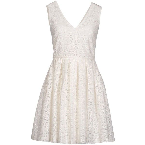 Manoush Short Dress (420 PEN) ❤ liked on Polyvore featuring dresses, ivory, mini dress, white mini dress, white dress, lace mini dress and short dresses