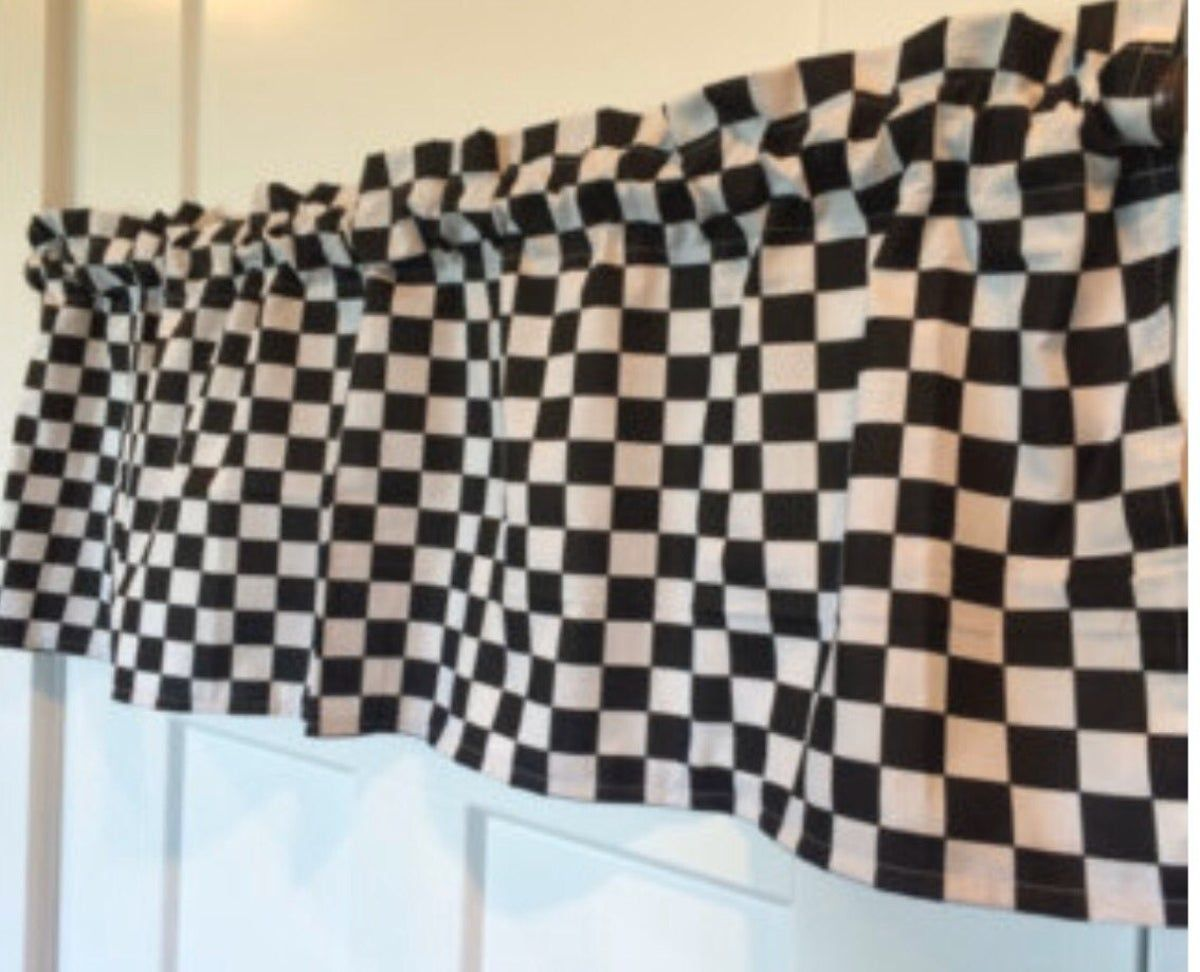 Black And White Nascar Check Curtain In 2020 Curtains Checker Curtains Cars Room