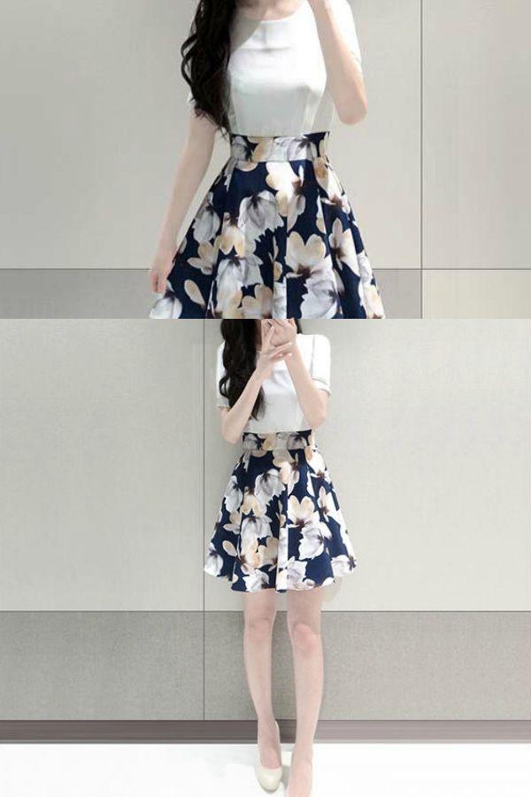 Fashion Street - Floral Print Mock Two-Piece Dress