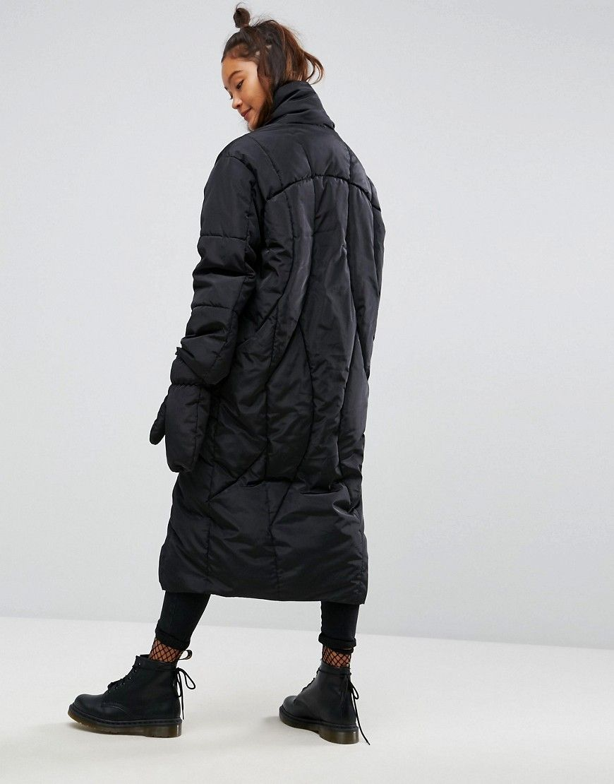 ASOS Longline Puffer Coat with Detachable Mittens Black