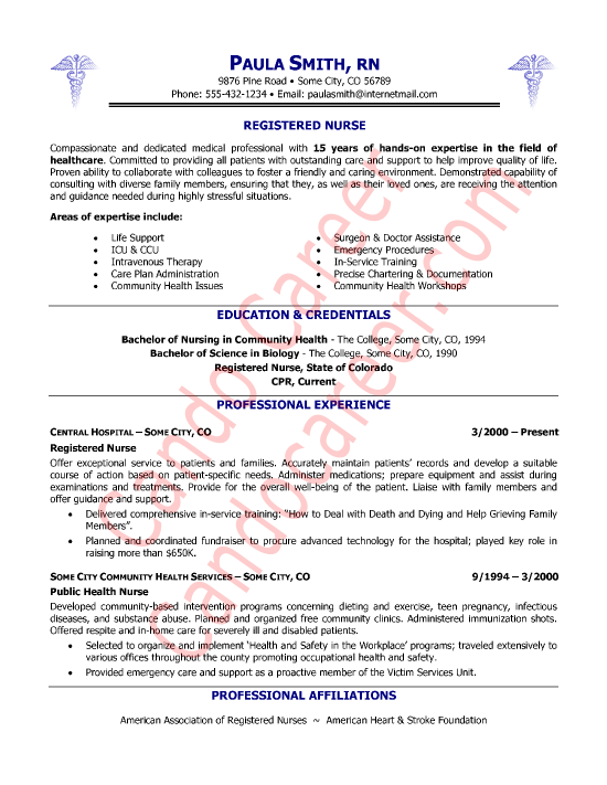 sample resumes nurses