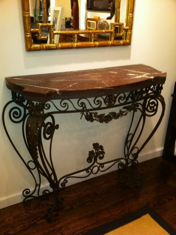 Black Wrought Iron Mirrors 1930 S Console Table For At 1stdibs