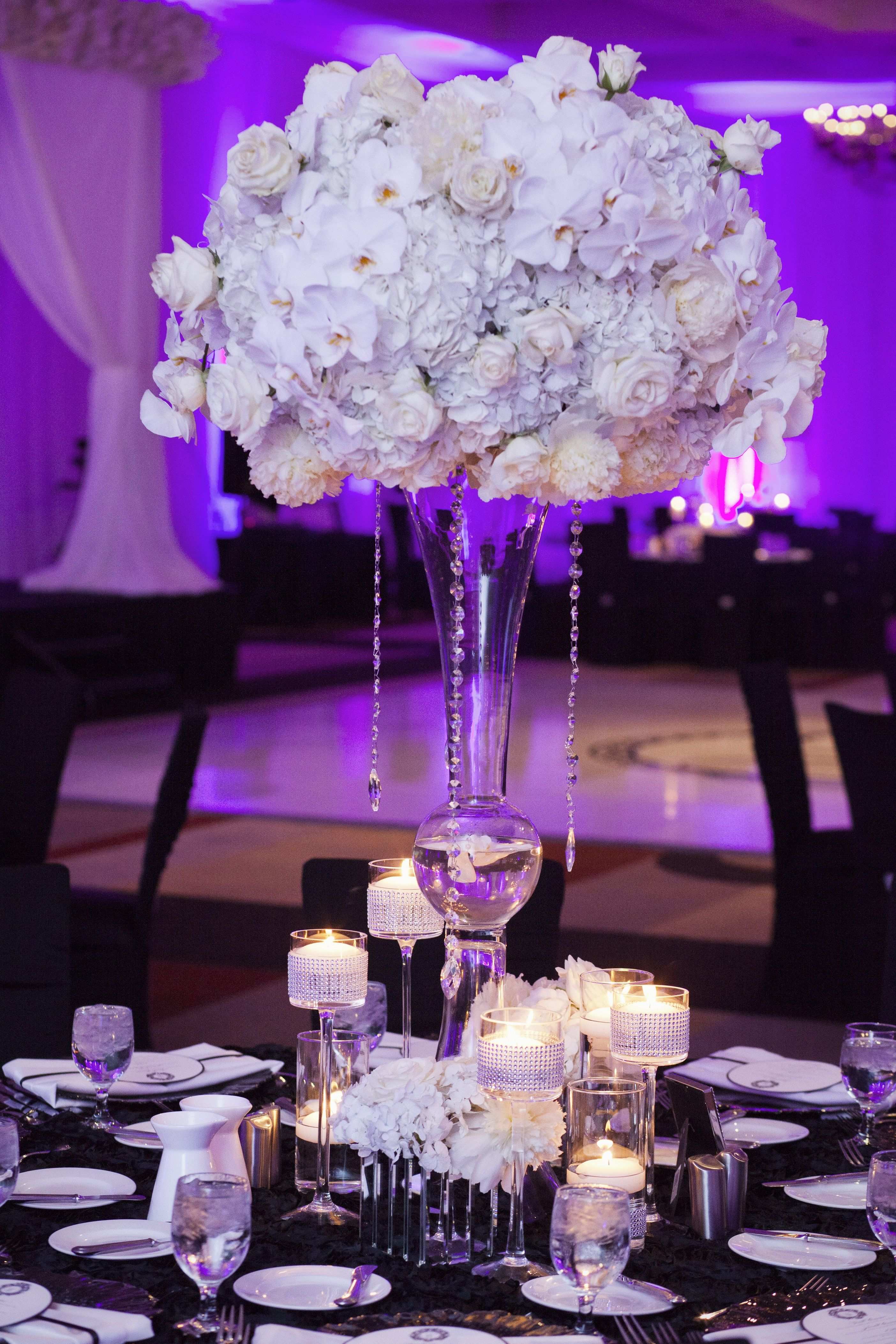 White Flower Ball With Hanging Jewels And Crystals Weddings