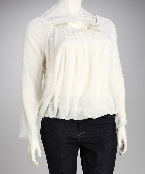 Take a look at this Madison Paige White Chiffon Plus-Size Long-Sleeve Top - Plus on zulily today!