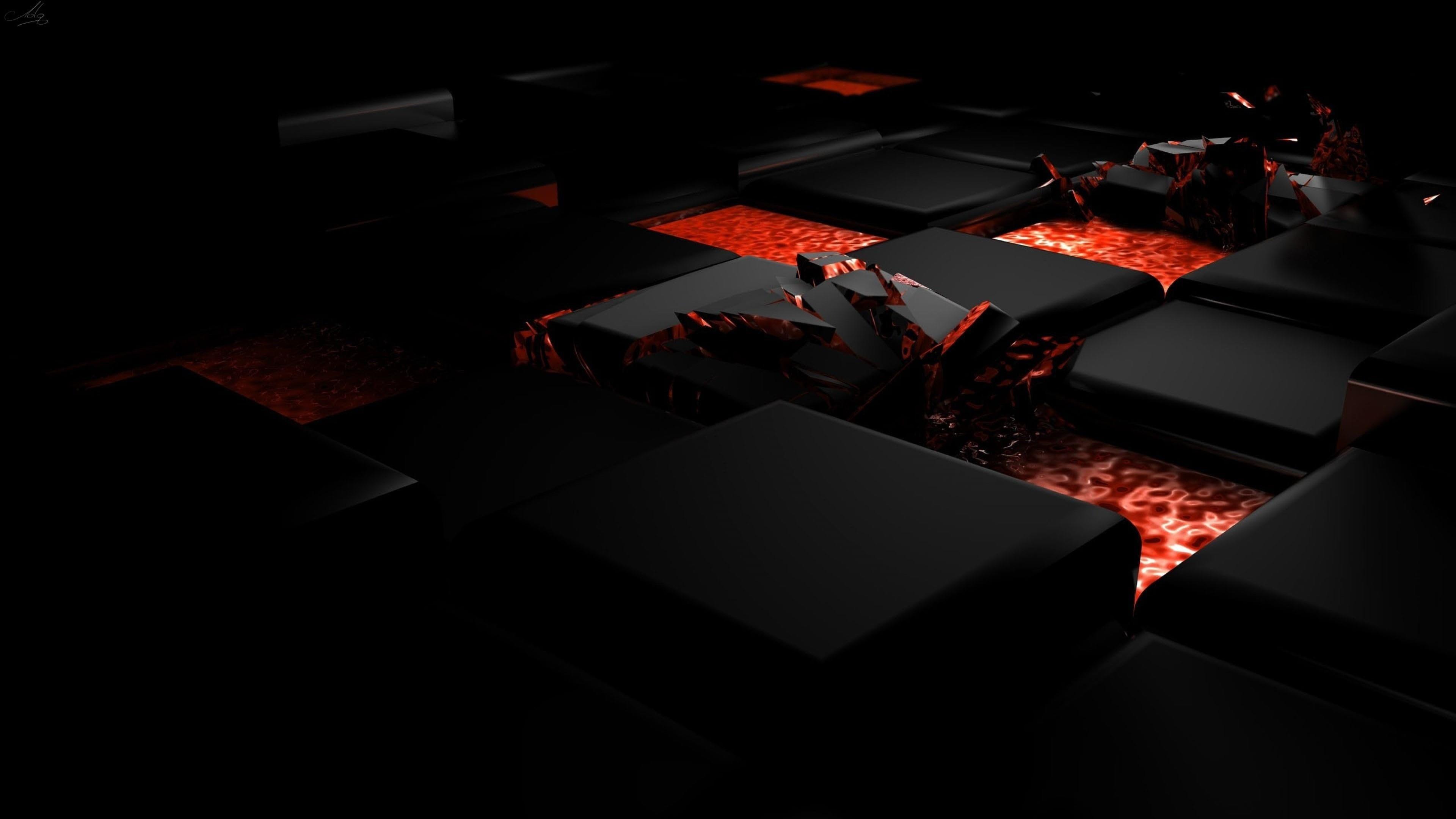 black 3d block red 4K wallpaper hdwallpaper