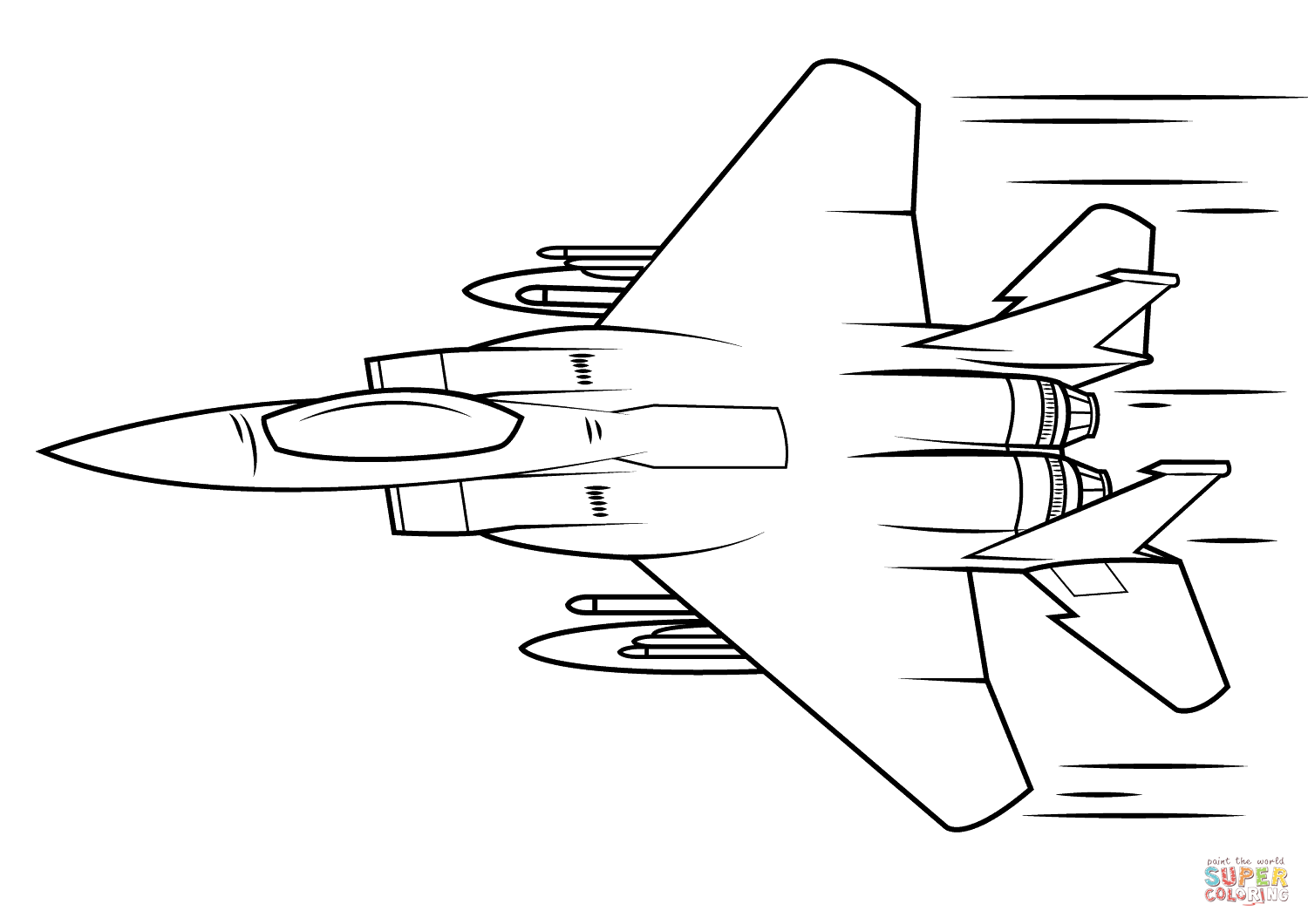 F 15 Eagle Super Coloring Plane Drawing Airplane Coloring Pages Eagle Drawing
