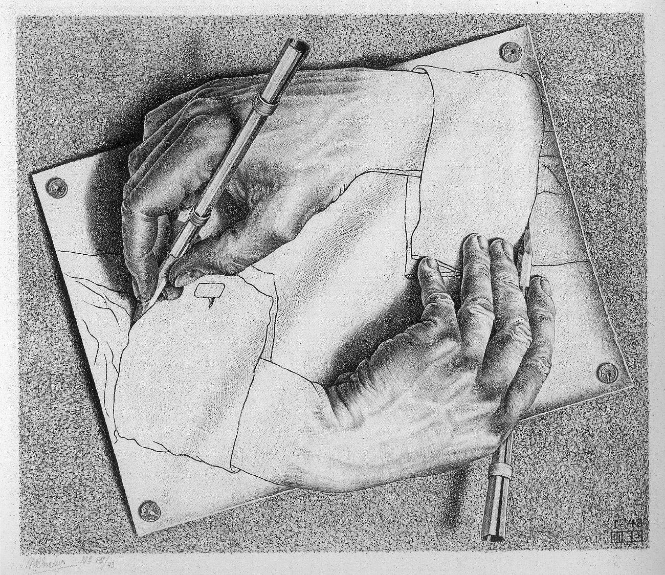 Drawing Hands, M. C.  Escher (1948)