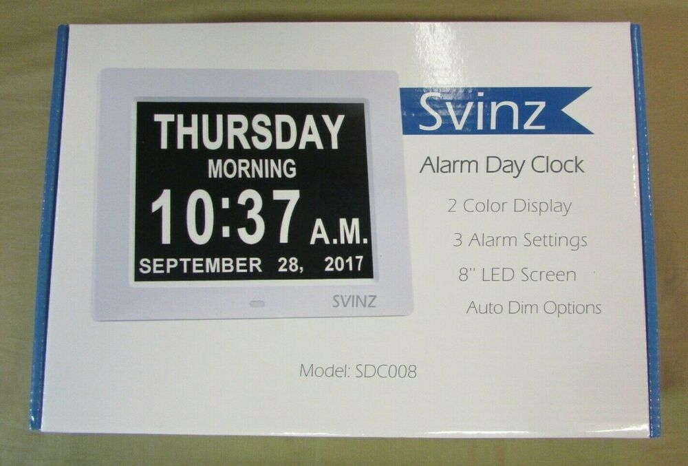 "SVINZ 8/"" Digital Calendar Alarm Day Clock with 3 Alarm Options Extra Large Day"