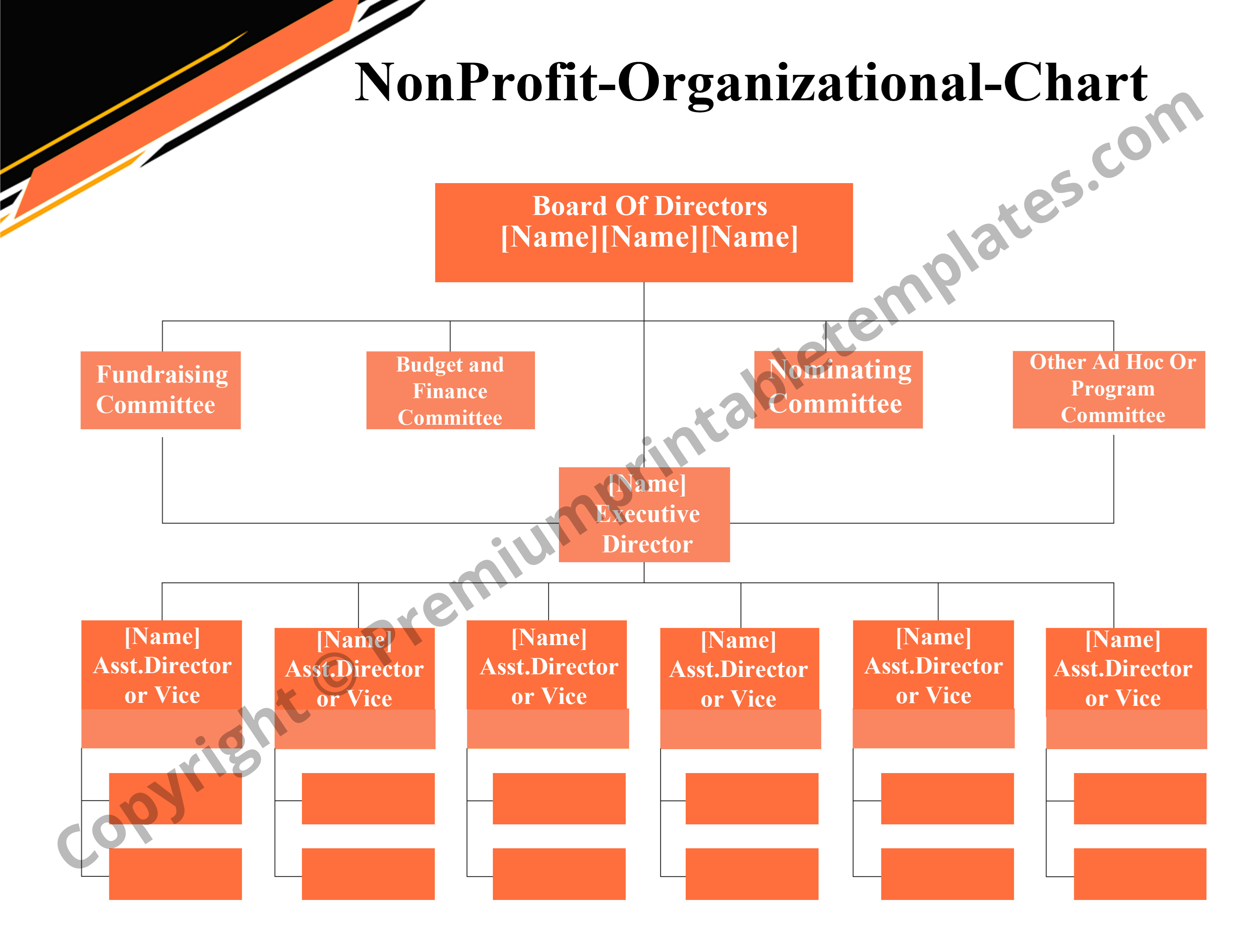 Non Profit Organizational Chart Pack Of 5 In 2020 Organizational Chart Non Profit Organization Chart