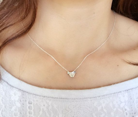 Dainty sterling silver tiny bird pandent by PureOneJewelry on Etsy