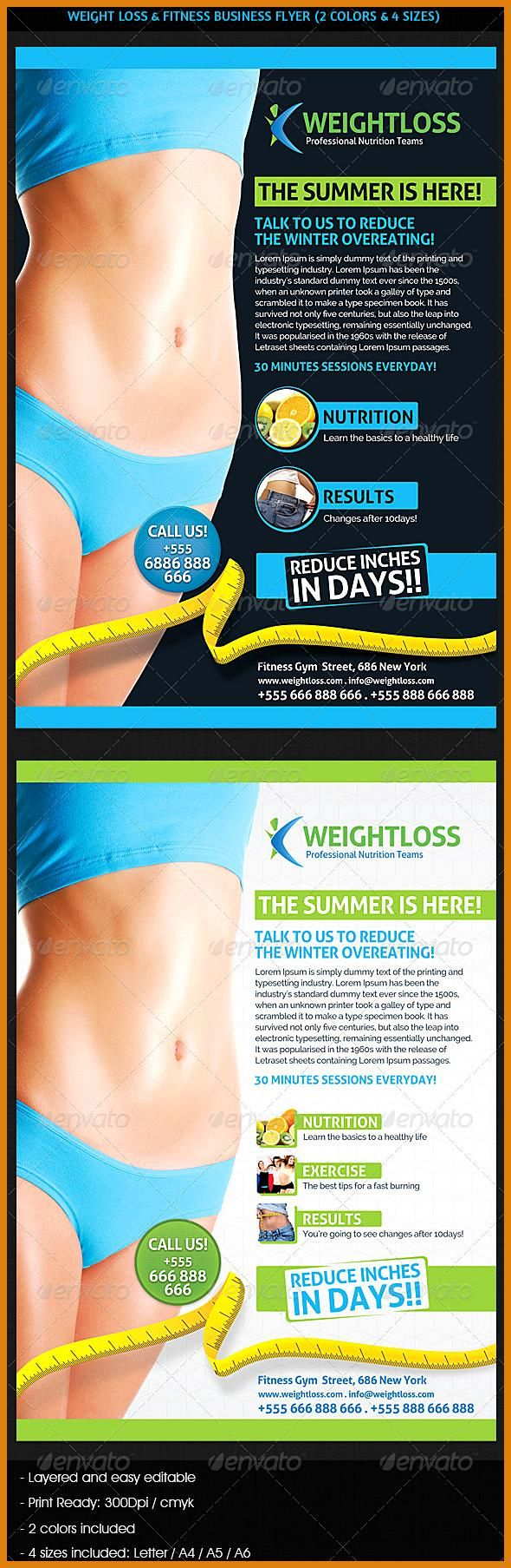 Weight Loss 038 Fitness Business Flyer GraphicRiver A professional weight loss and Fitness Gym or Sp...