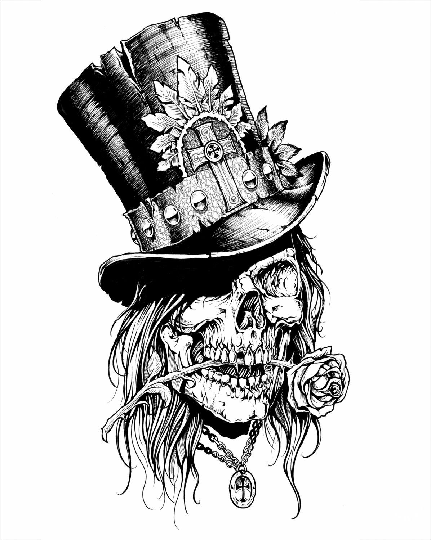 Skulls With Top Hat Tattoos : skulls, tattoos, Top-hat-2.jpg, (1196×1500), Skull, Tattoo, Design,, Skulls, Drawing,, Tattoos