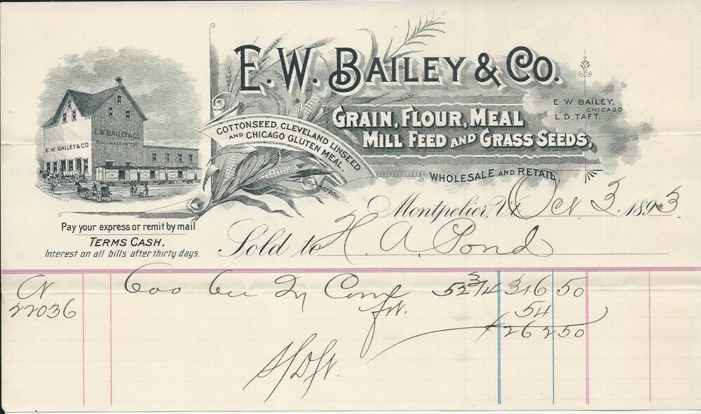 1883 Montpelier Vt E W Bailey Co Chicago Gluten Mill Cleveland