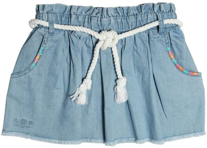Cotton Chambray Skirt #rope#belt#Includes