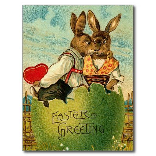 Ostern-Honig-Häschen-Postkarte
