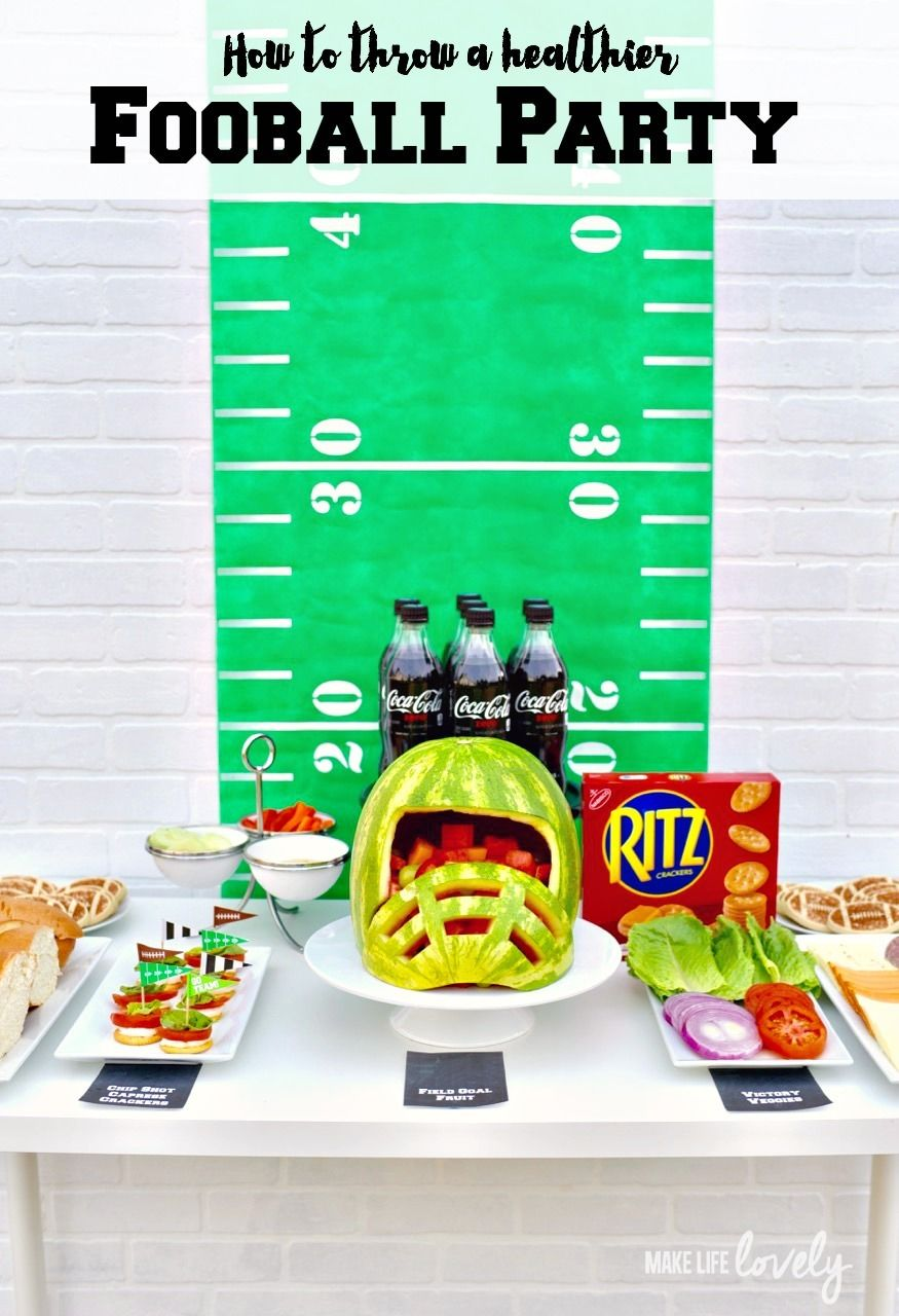 Amazing football party + Caprese crackers appetizer, a watermelon football helmet, and so much more! #ReadyForKickOff #ad
