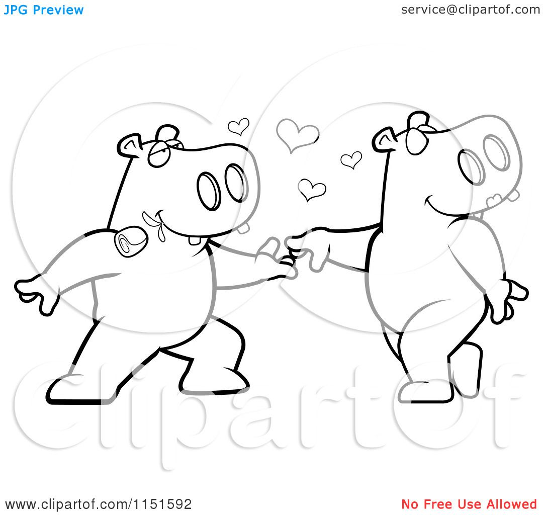 Cartoon Clipart Of A Black And White Amorous Hippo Character Biting A Rose And Dancing With A Female Vector Outlined Cartoon Clip Art Coloring Pages Character
