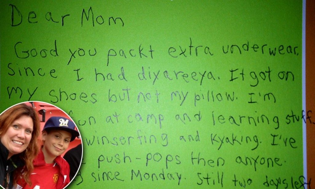 'I've ate more push-pops then anyone. 37 is the rekerd and I can beat it': Boy, 8, writes funniest ever letter from summer camp.