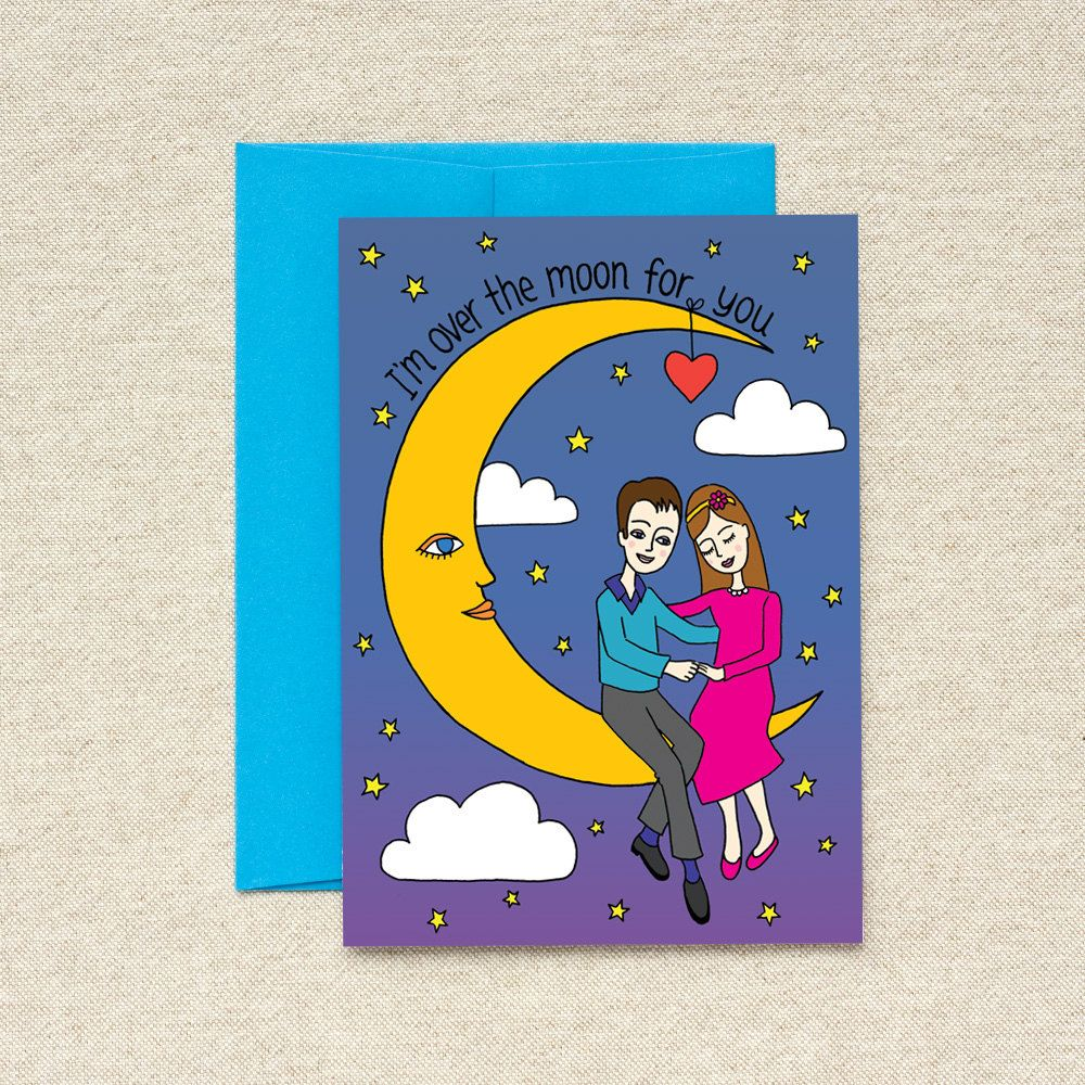 i'm over the moon for you  single blank card  valentine