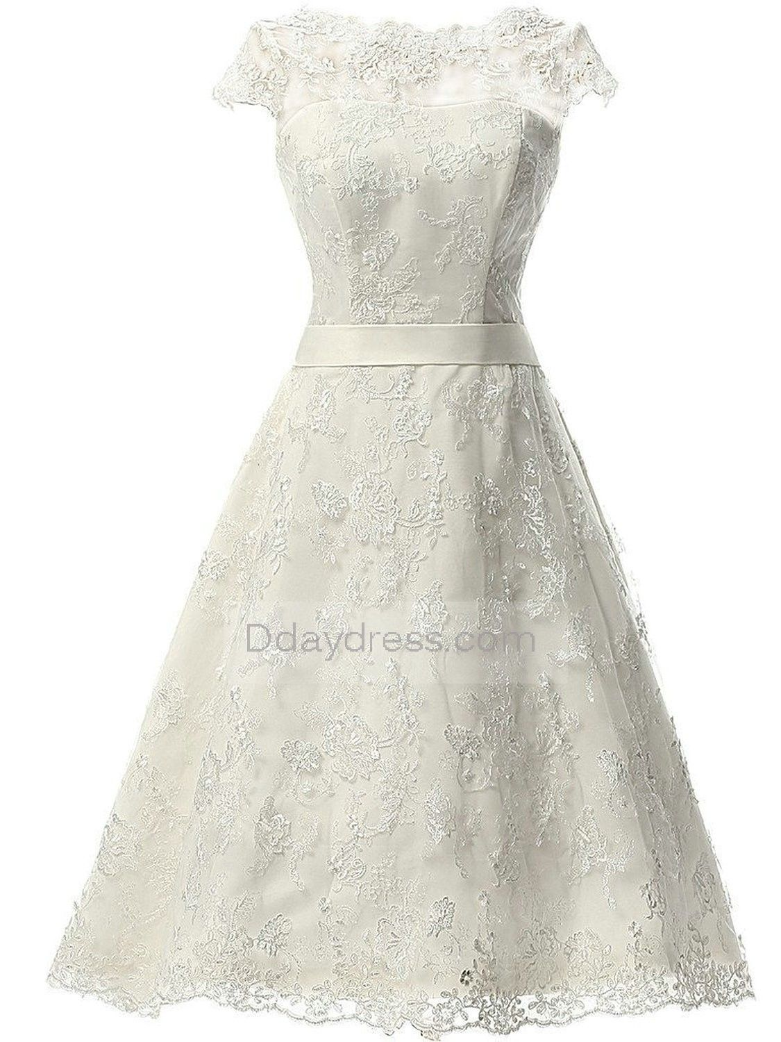 Short prom style wedding dresses  Women Vintage Lace Wedding Dress Short Bridal Gown with Sash