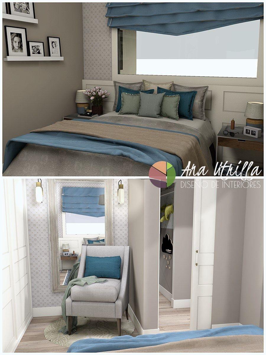 Infografías 3D dormitorio piso en Valladolid por Ana Utrilla